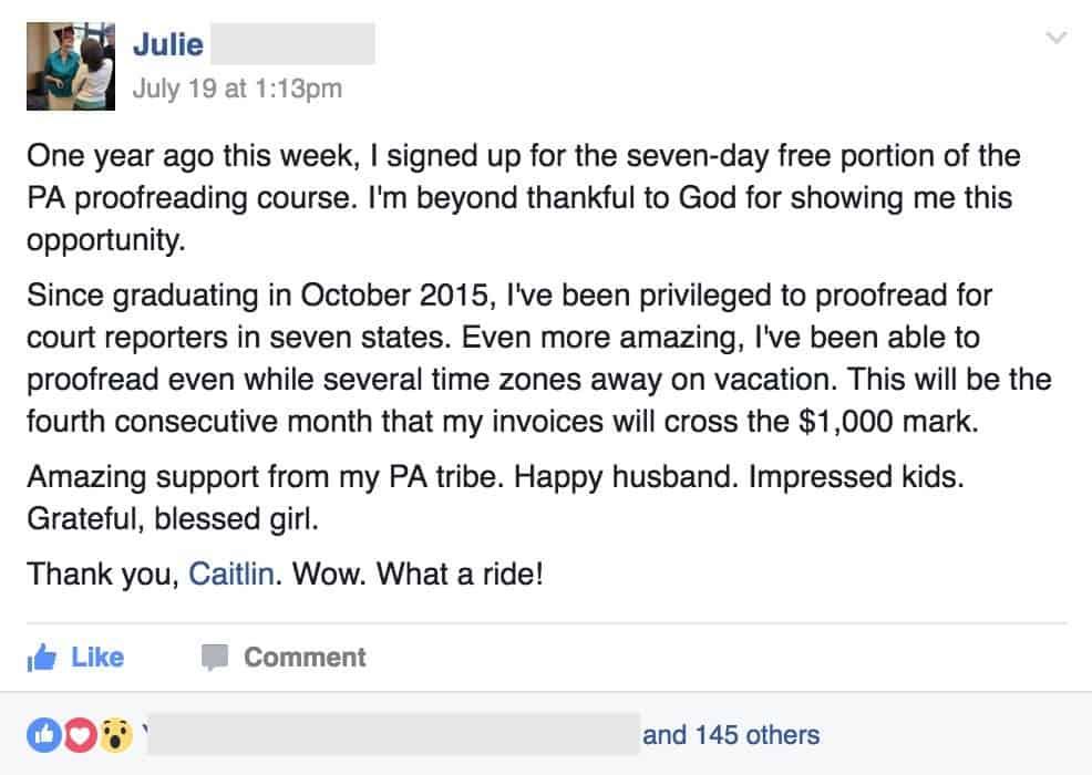Julie FB screenshot